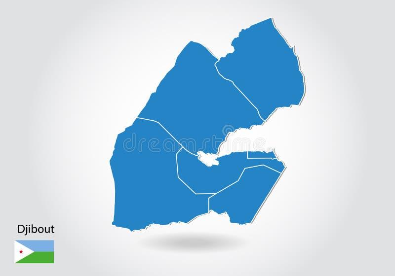 Diseño del mapa de Djibout con el estilo 3D Mapa azul del djibout y bandera nacional Mapa simple del vector con el contorno, form ilustración del vector