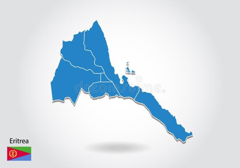 Diseño del mapa de Eritrea con el estilo 3D Mapa azul de Eritrea y bandera nacional Mapa simple del vector con el contorno, forma ilustración del vector