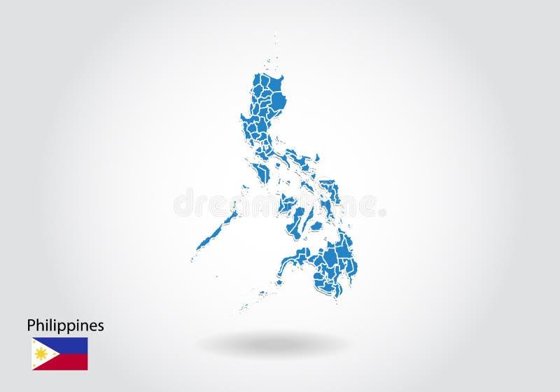 Diseño del mapa de Filipinas con el estilo 3D Mapa azul de Filipinas y bandera nacional Mapa simple del vector con el contorno, f ilustración del vector