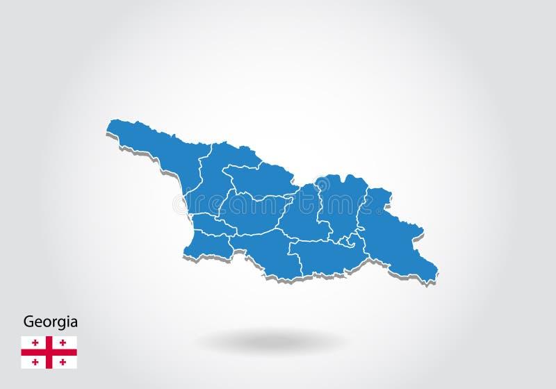 Diseño del mapa de Georgia con el estilo 3D Mapa azul de Georgia y bandera nacional Mapa simple del vector con el contorno, forma stock de ilustración