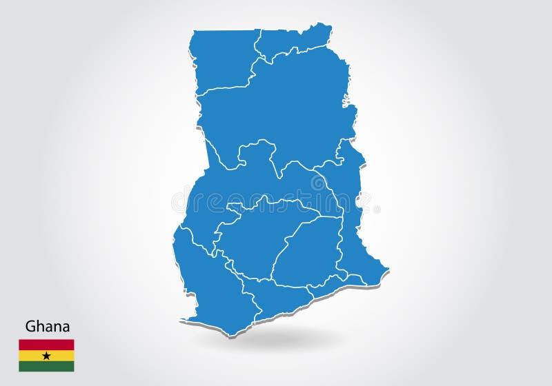 Diseño del mapa de Ghana con el estilo 3D Mapa azul de Ghana y bandera nacional Mapa simple del vector con el contorno, forma, es ilustración del vector