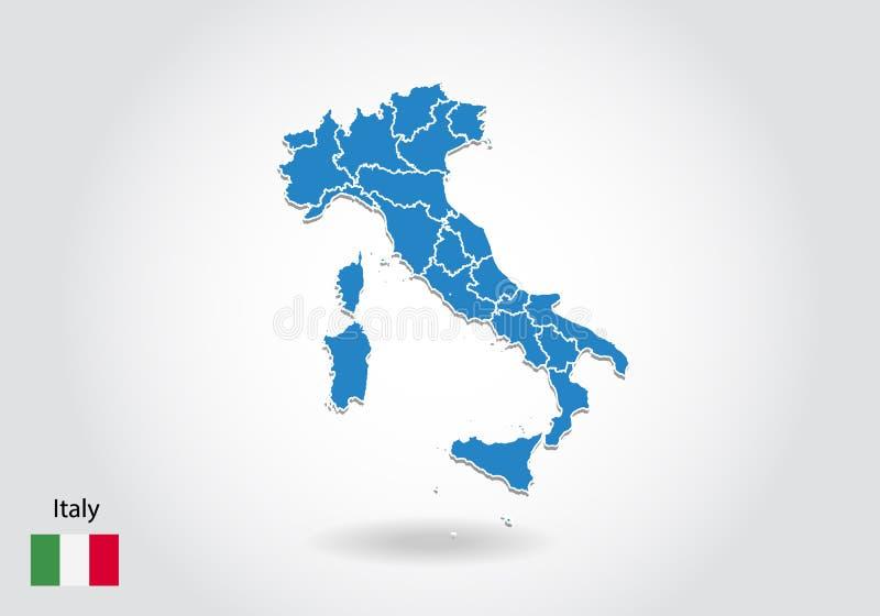 Diseño del mapa de Italia con el estilo 3D Mapa azul de Italia y bandera nacional Mapa simple del vector con el contorno, forma,  stock de ilustración