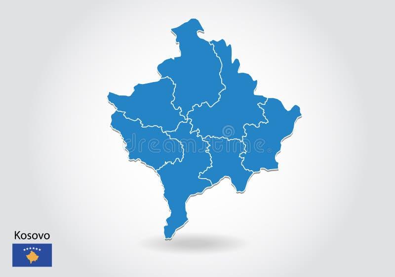 Diseño del mapa de Kosovo con el estilo 3D Mapa azul de Kosovo y bandera nacional Mapa simple del vector con el contorno, forma,  ilustración del vector