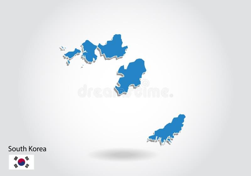 Diseño del mapa de la Corea del Sur con el estilo 3D Mapa azul de la Corea del Sur y bandera nacional Mapa simple del vector con  ilustración del vector
