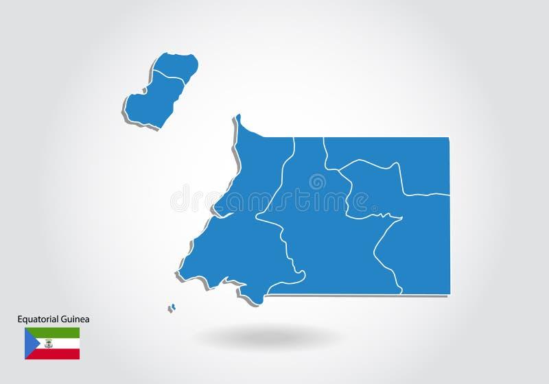 Diseño del mapa de la Guinea Ecuatorial con el estilo 3D Mapa azul de la Guinea Ecuatorial y bandera nacional Mapa simple del vec stock de ilustración