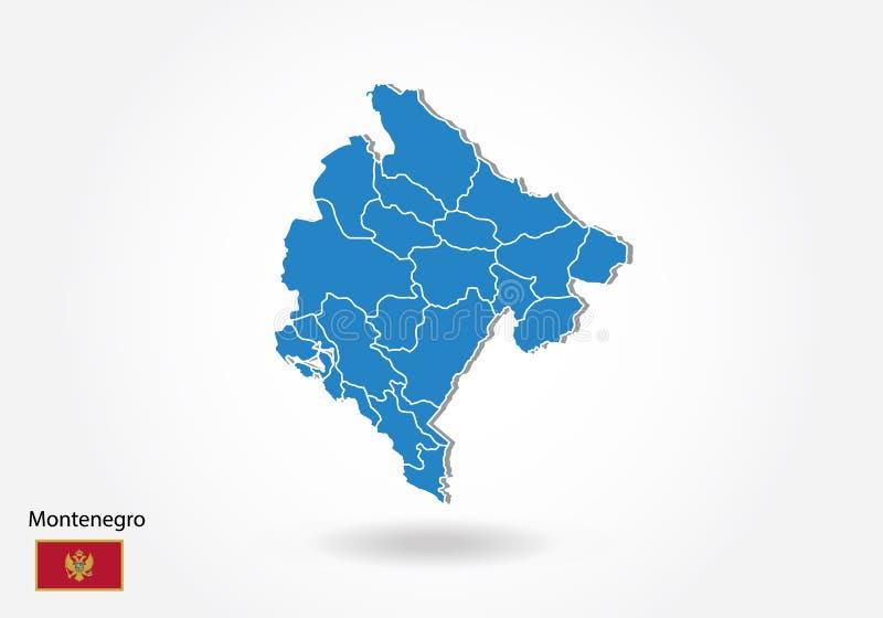 Diseño del mapa de Montenegro con el estilo 3D Mapa azul de Montenegro y bandera nacional Mapa simple del vector con el contorno, stock de ilustración