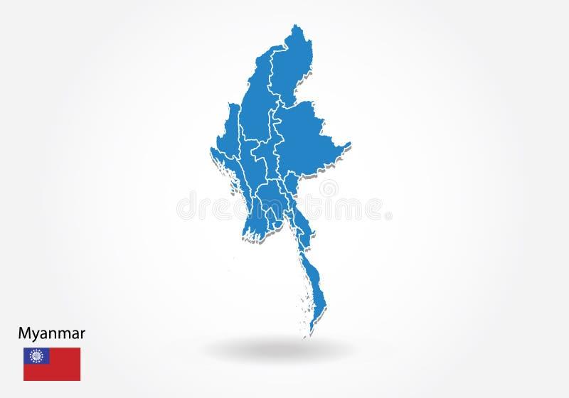 Diseño del mapa de Myanmar con el estilo 3D Mapa azul de myanmar y bandera nacional Mapa simple del vector con el contorno, forma stock de ilustración