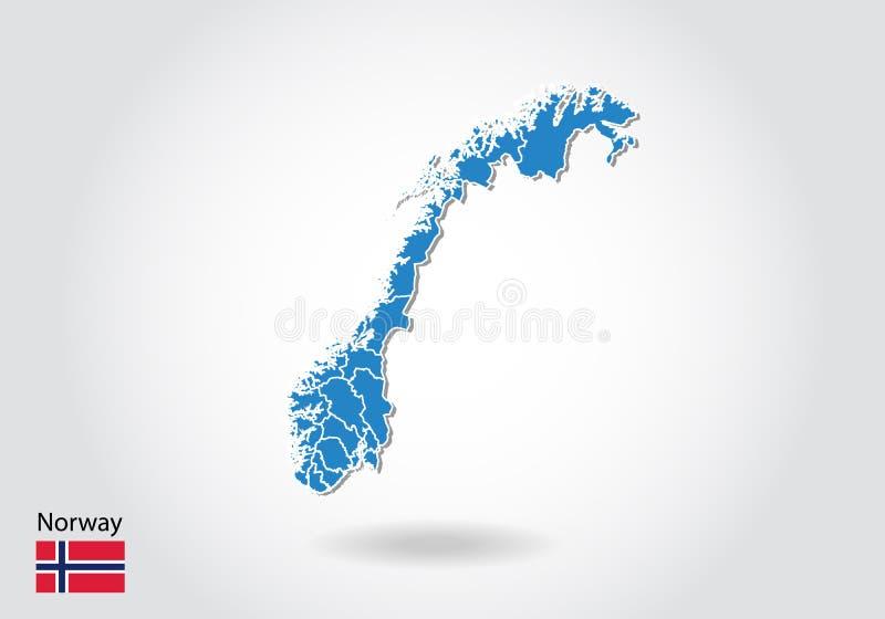 Diseño del mapa de Noruega con el estilo 3D Mapa azul de Noruega y bandera nacional Mapa simple del vector con el contorno, forma libre illustration