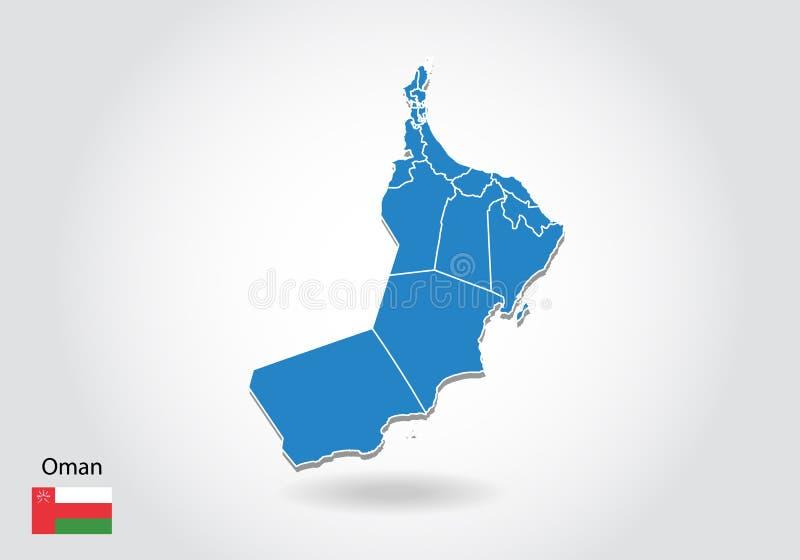 Diseño del mapa de Omán con el estilo 3D Mapa azul de Omán y bandera nacional Mapa simple del vector con el contorno, forma, esqu stock de ilustración