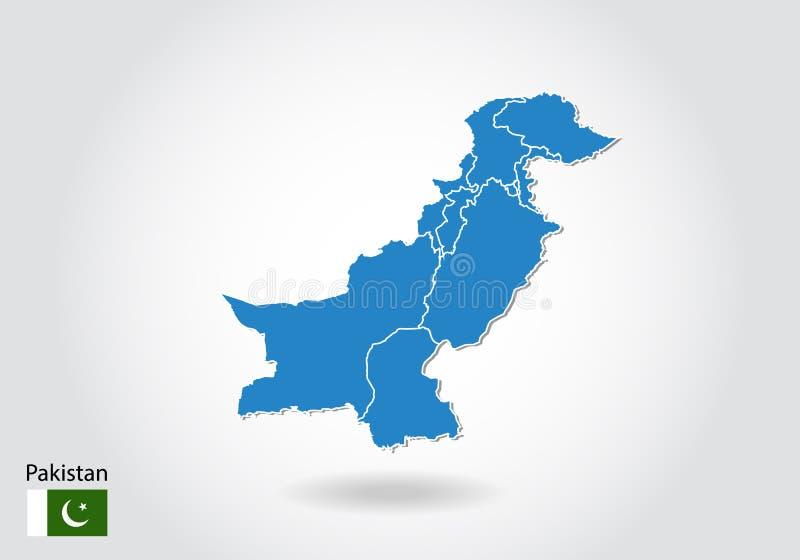 Diseño del mapa de Paquistán con el estilo 3D Mapa azul de Paquistán y bandera nacional Mapa simple del vector con el contorno, f libre illustration