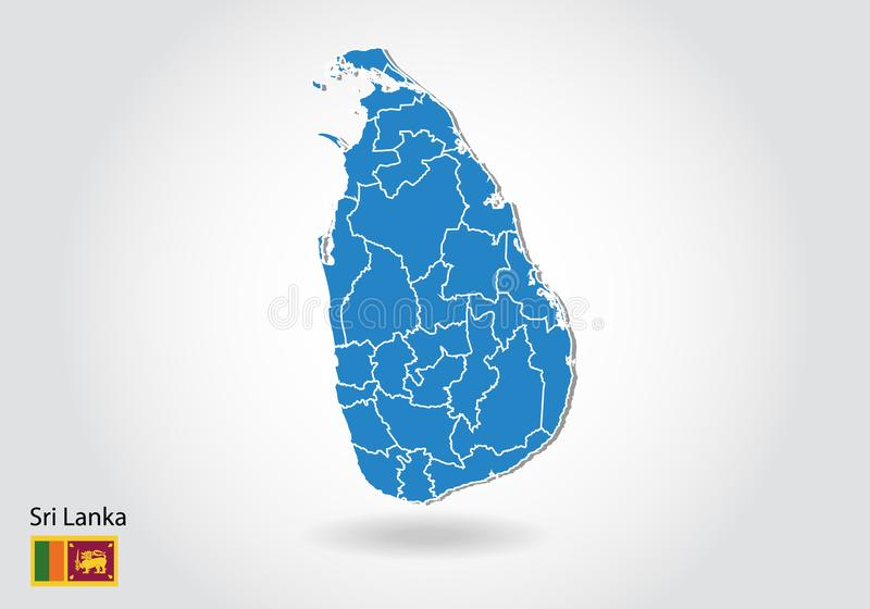 Diseño del mapa de Sri Lanka con el estilo 3D Mapa azul de Sri Lanka y bandera nacional Mapa simple del vector con el contorno, f libre illustration