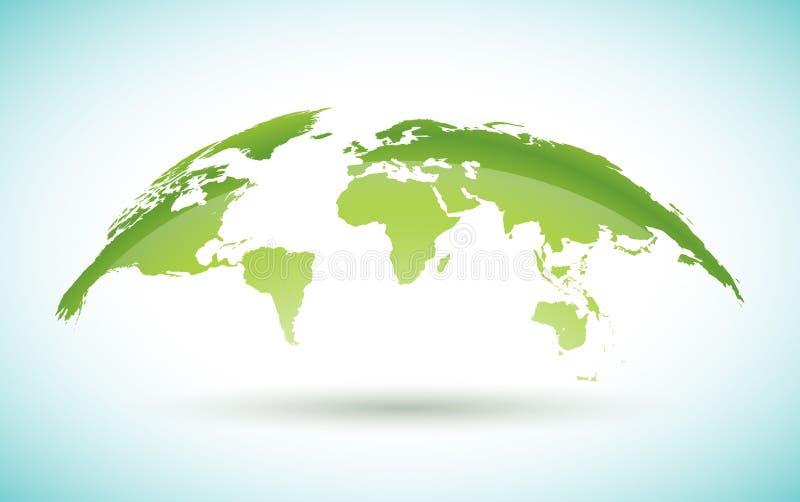 Diseño del mapa del mundo en el fondo blanco en concepto del ambiente Ejemplo de la tierra con los continentes Gráfico de vector  libre illustration