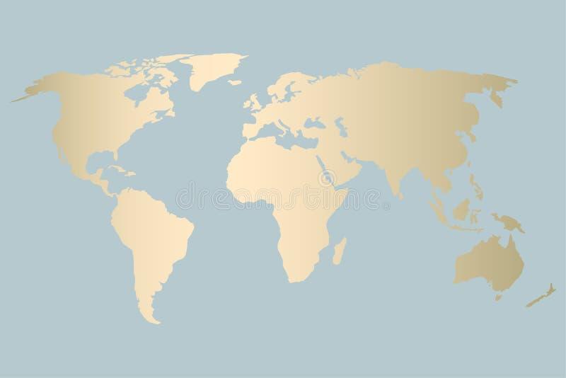 Diseño del mapa del mundo del oro ilustración del vector