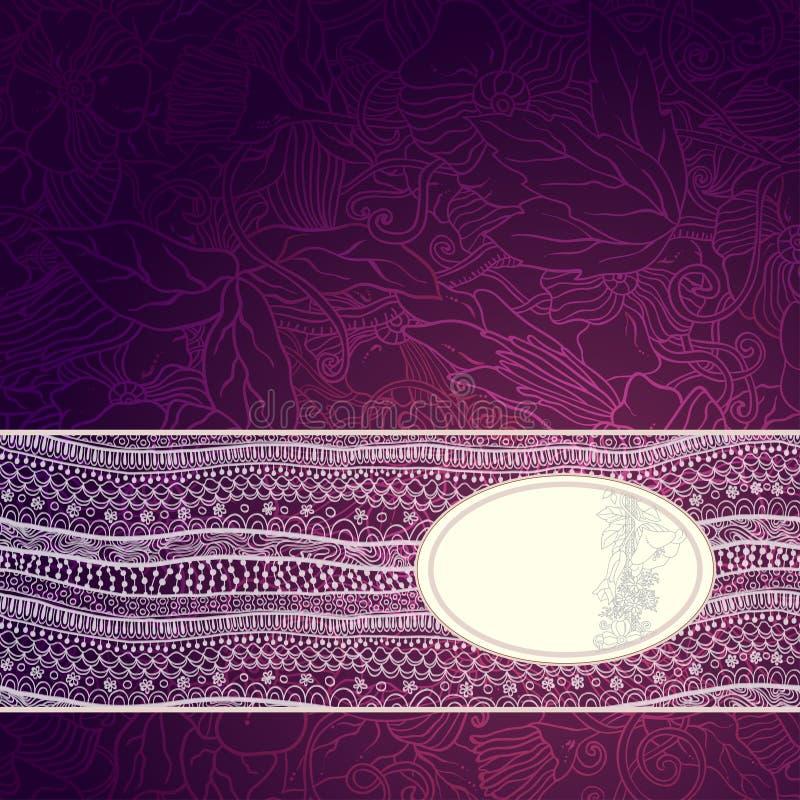 Diseño del marco de la plantilla para la tarjeta con la cinta del cordón. ilustración del vector