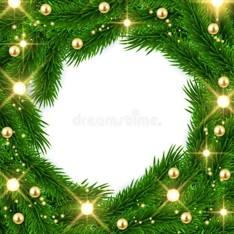 Diseño del marco de las ramas de árbol de abeto, fondo de la Navidad, enfermedad del vector ilustración del vector