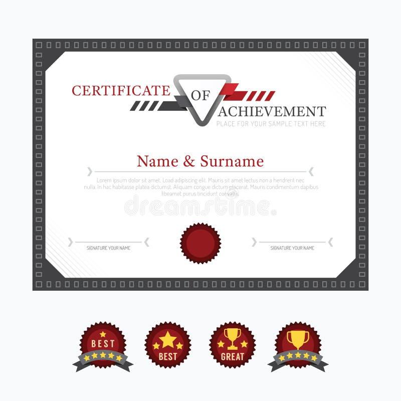 Diseño del marco del fondo de la disposición de la plantilla del certificado stock de ilustración