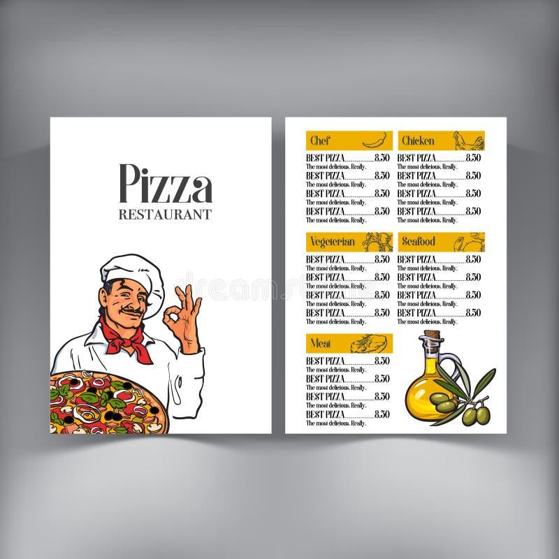 Diseño del menú con el cocinero italiano que sirve la pizza recientemente cocida ilustración del vector