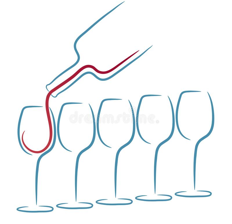 Diseño del menú del concepto de la copa de vino, ejemplo común del vector libre illustration