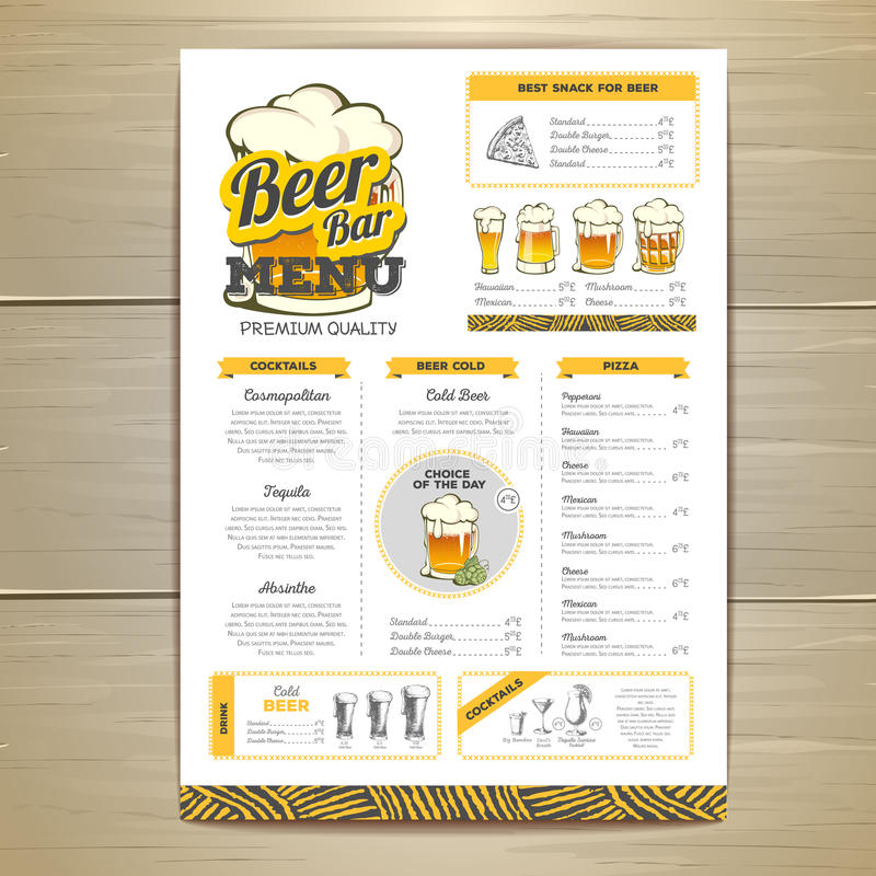 Diseño del menú de la cerveza del vintage stock de ilustración