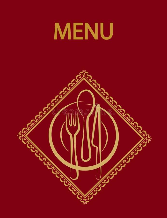 Diseño del menú del restaurante con background-2 rojo stock de ilustración