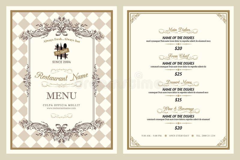 Diseño del menú del restaurante del estilo del vintage ilustración del vector