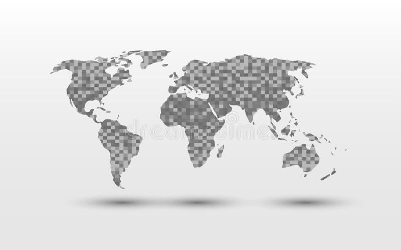 Diseño del modelo del bloque del cubo del rectángulo del pixel del mapa del mundo en el fondo blanco stock de ilustración