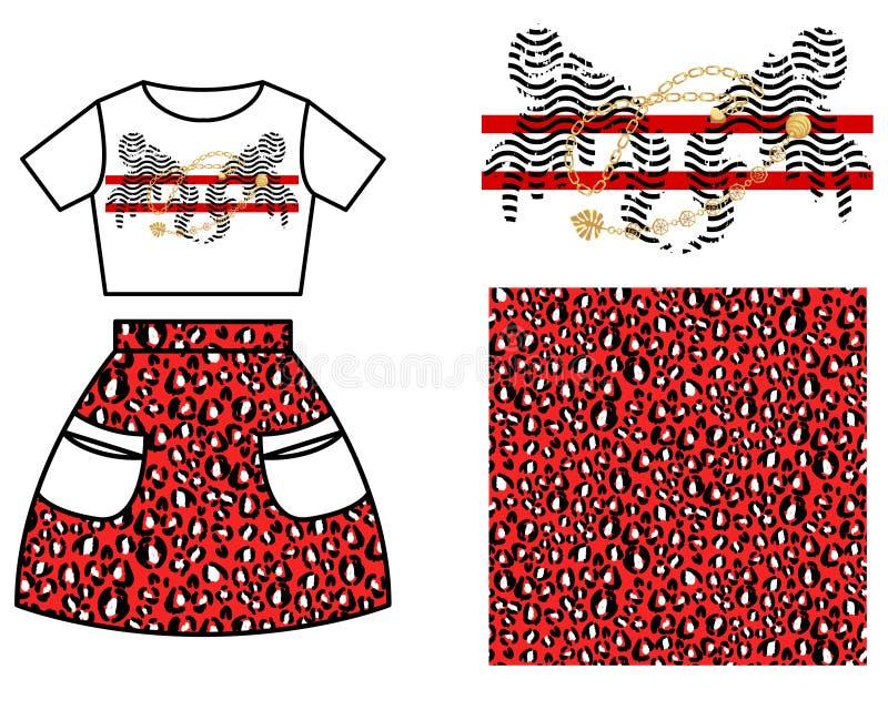 Diseño del modelo de la falda del vestido para las muchachas Manchas rojas del leopardo y sistema moderno de la impresión de la c ilustración del vector