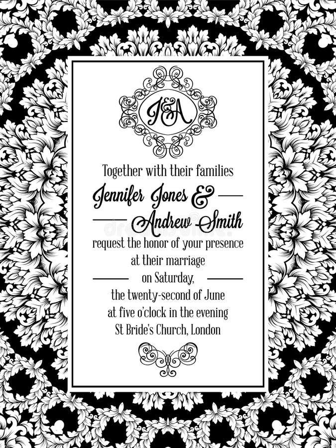 Diseño del modelo del damasco para casarse la invitación en blanco y negro Marco real del brocado y monograma exquisito libre illustration