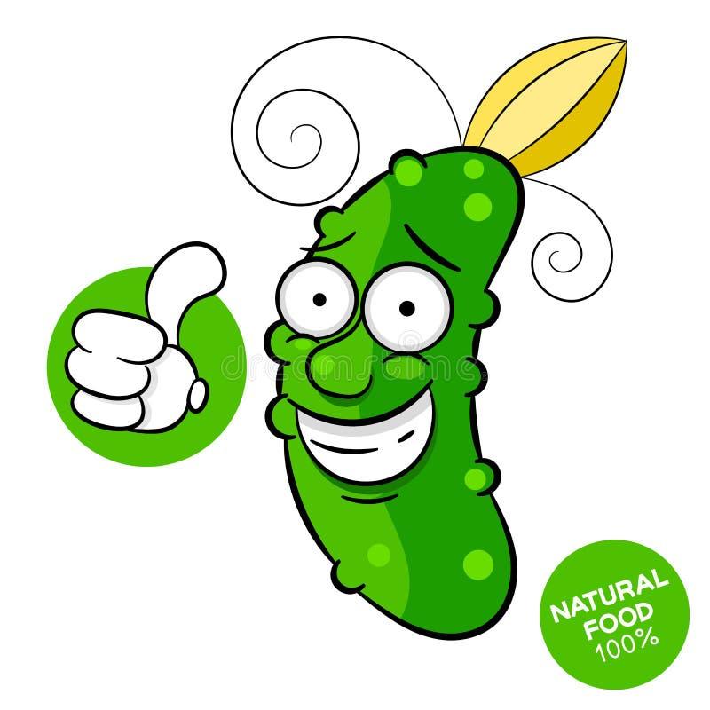 Diseño del modelo del pepino para el mercado vegetal Un menú atajado con el alimento biológico Verduras a mano frescas Vector ilustración del vector