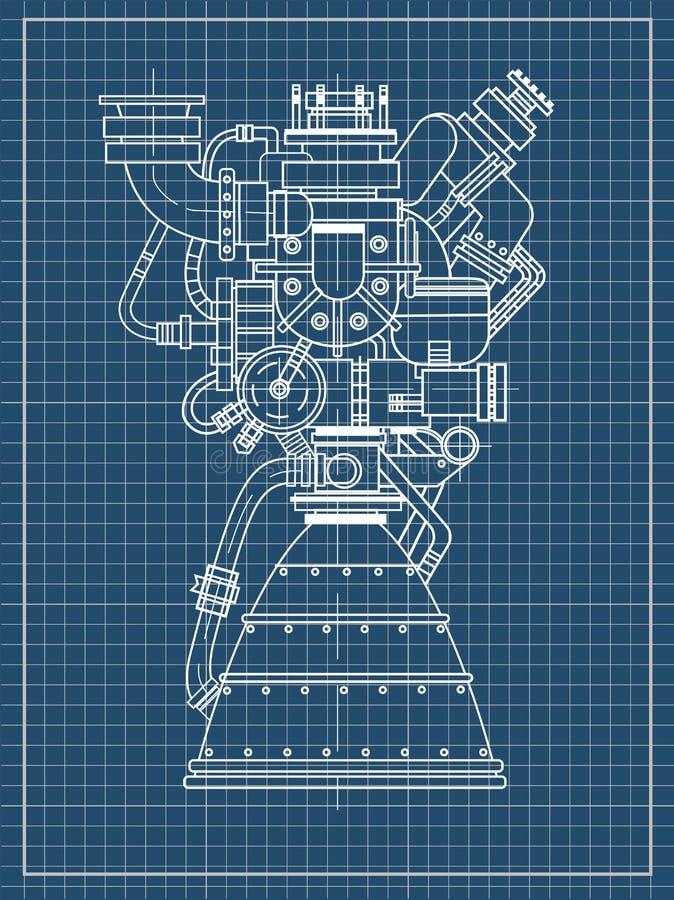 Diseño del motor espacial Puede ser utilizado como ejemplo para el desarrollo y la investigación de alta tecnología, de ingenierí stock de ilustración