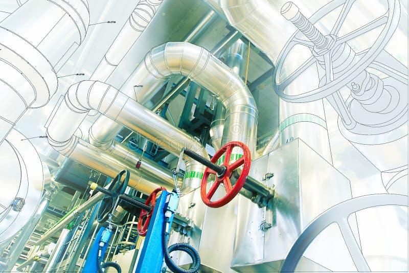 Diseño del ordenador cad de tuberías del pla industrial moderno del poder fotografía de archivo
