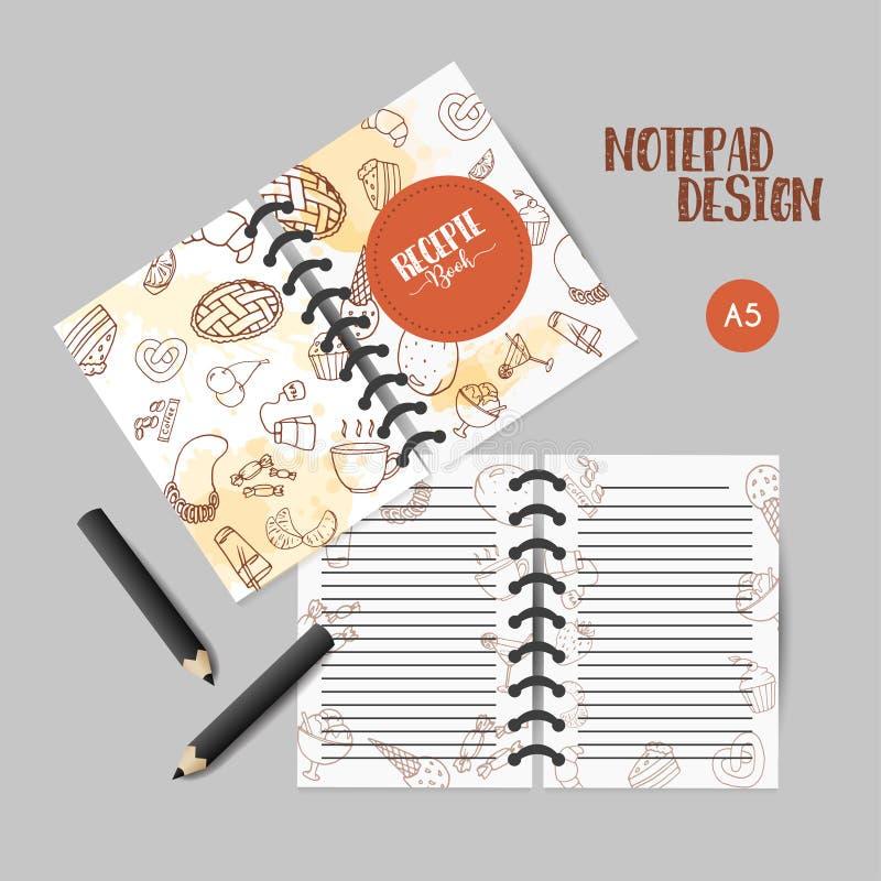 Diseño del organizador de la panadería Notas con los pasteles dulces, magdalenas, tarjetas con la torta de chocolate, dulces, cre libre illustration