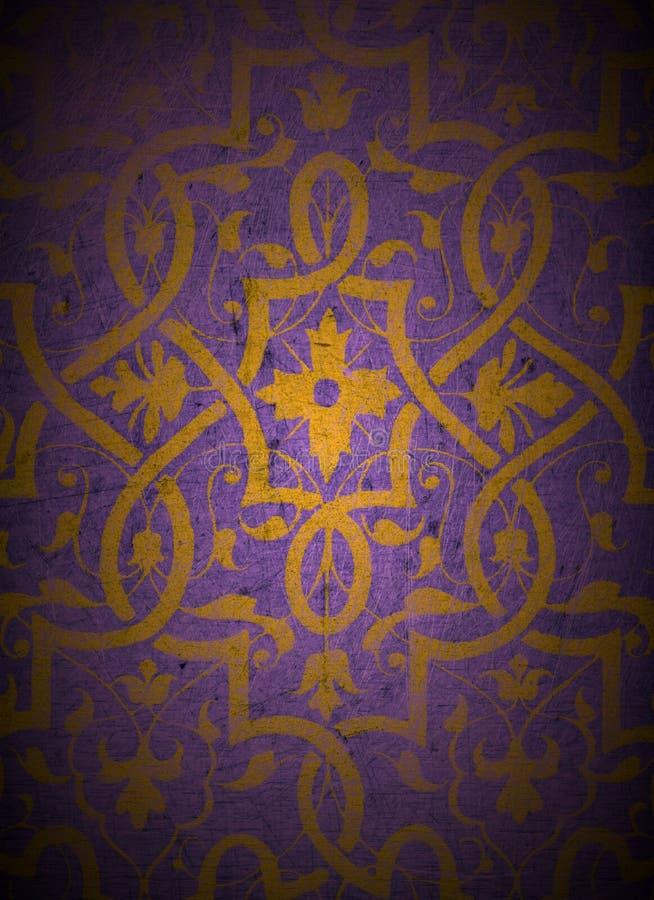 Diseño del oro en la madera imagenes de archivo