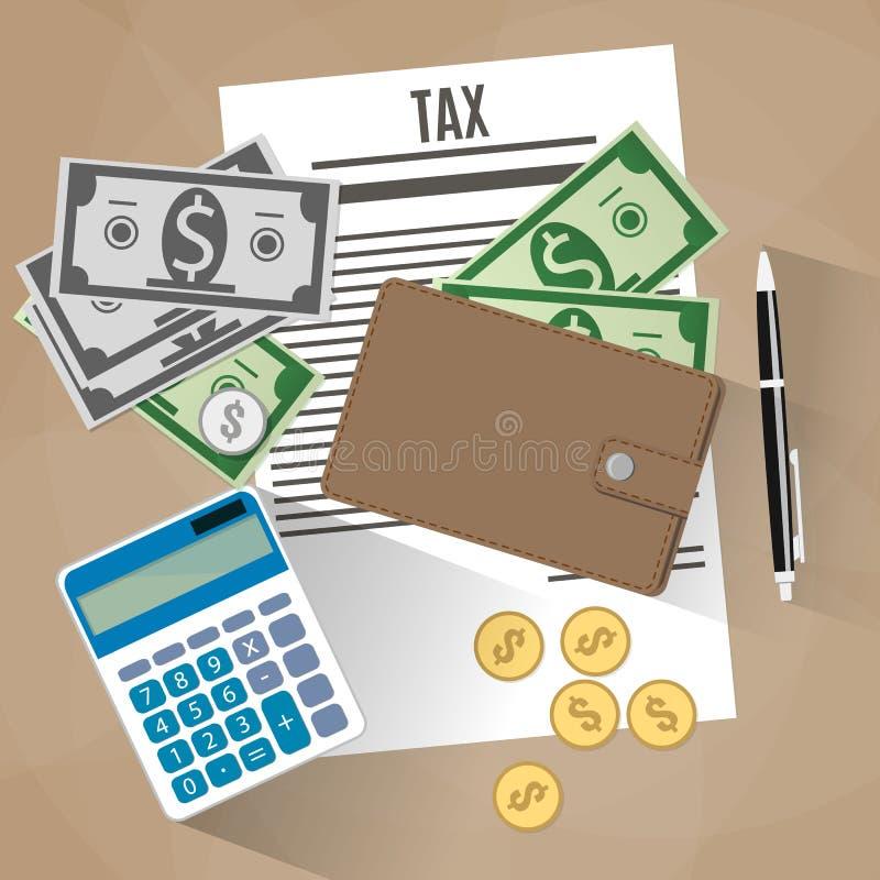 Diseño del pago de impuestos ilustración del vector