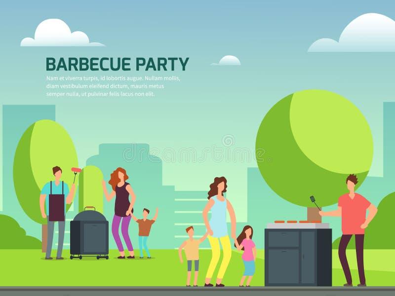 Diseño del partido de la barbacoa Familias del personaje de dibujos animados en parque stock de ilustración