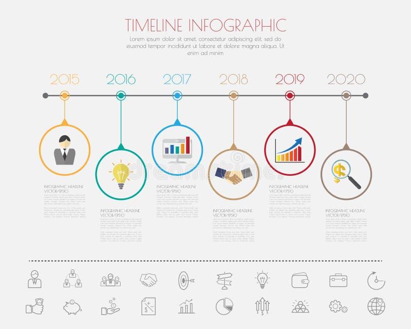 Diseño del paso del color con la plantilla/el gráfico de la cronología del icono del color o stock de ilustración