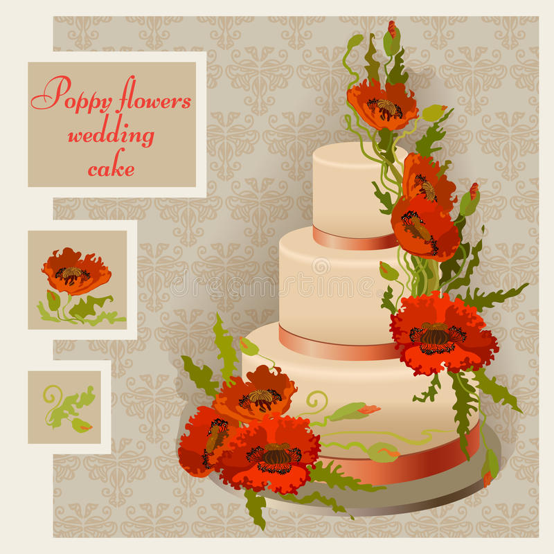 Diseño del pastel de bodas con la flor y las hojas rojas y anaranjadas de la amapola libre illustration