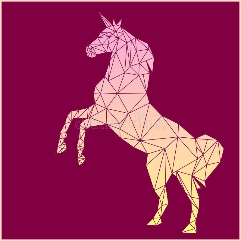 Diseño del polígono del unicornio stock de ilustración