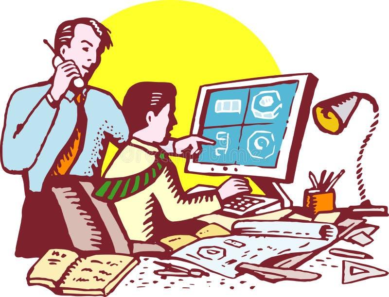 Diseño del producto cad en el ordenador stock de ilustración