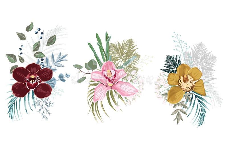 Diseño del ramo floral El vector de la boda invita a la tarjeta Sistema de elemento del diseñador Fondo blanco stock de ilustración