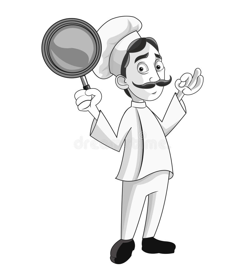 Diseño del restaurante de la cocina del cocinero del hombre stock de ilustración