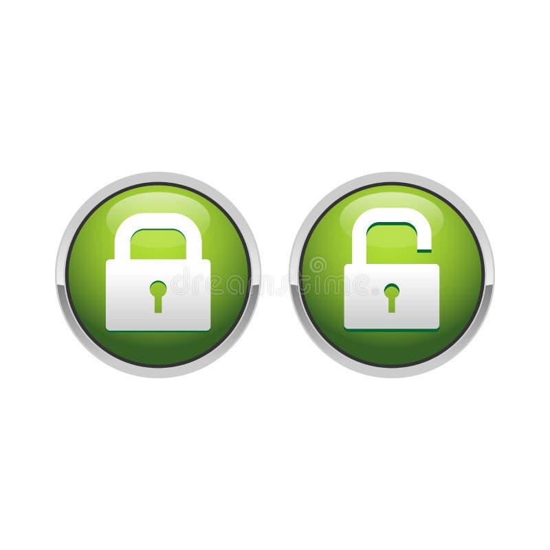 diseño del símbolo del botón del verde de la seguridad del candado 3D stock de ilustración