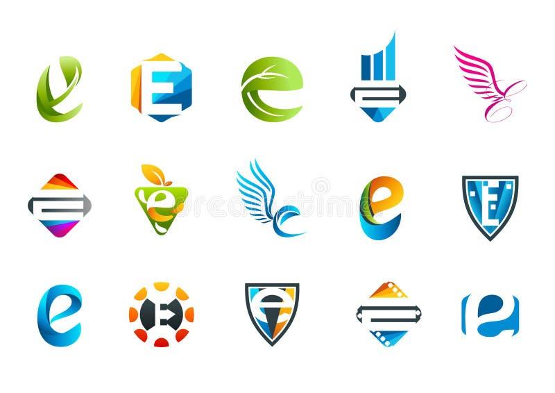Diseño del símbolo del concepto de la letra e ilustración del vector