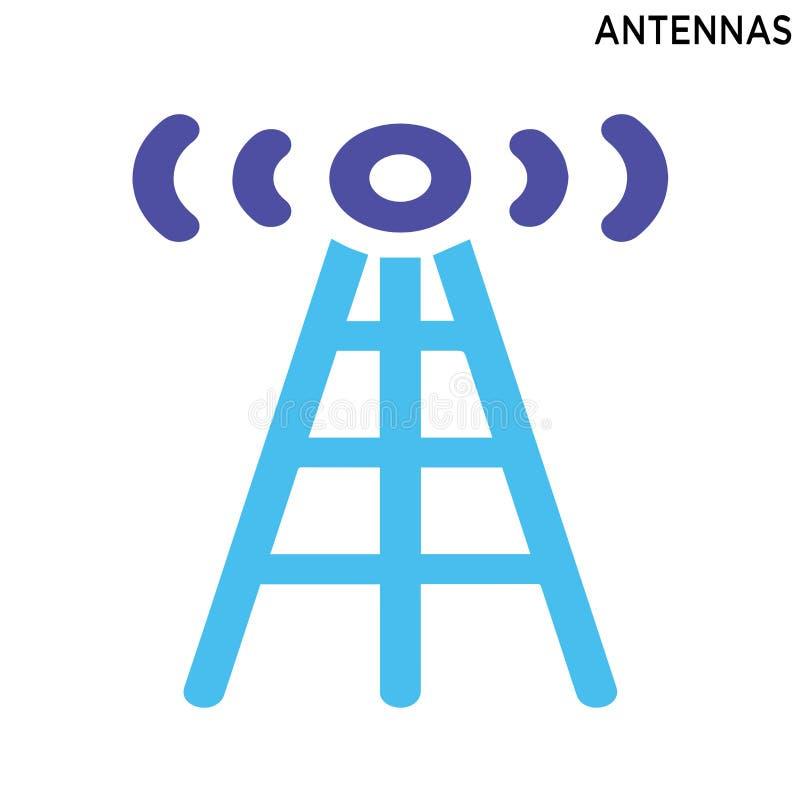 Diseño del símbolo del icono de las antenas aislado en el fondo blanco ilustración del vector