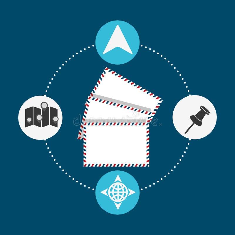 Diseño del servicio de correo de los posts stock de ilustración
