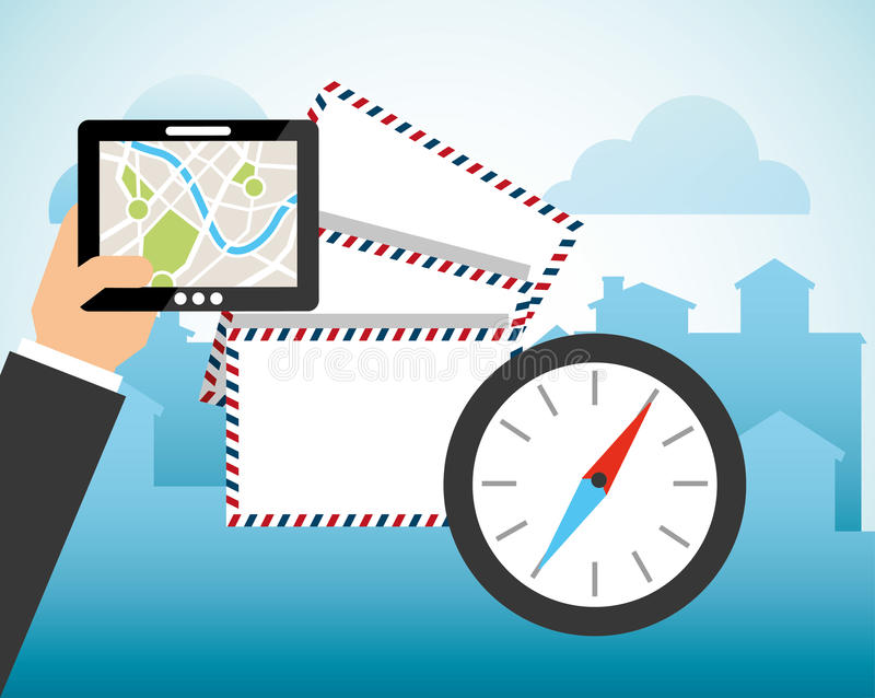 Diseño del servicio de correo de los posts libre illustration