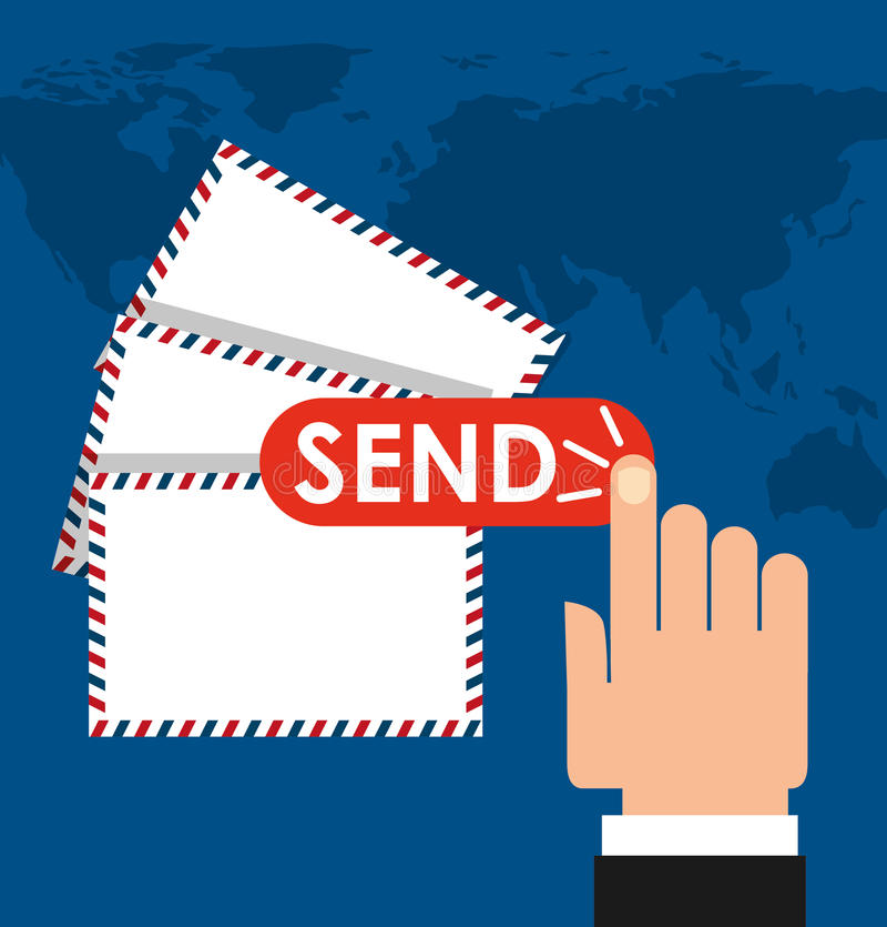 Diseño del servicio de correo de los posts ilustración del vector