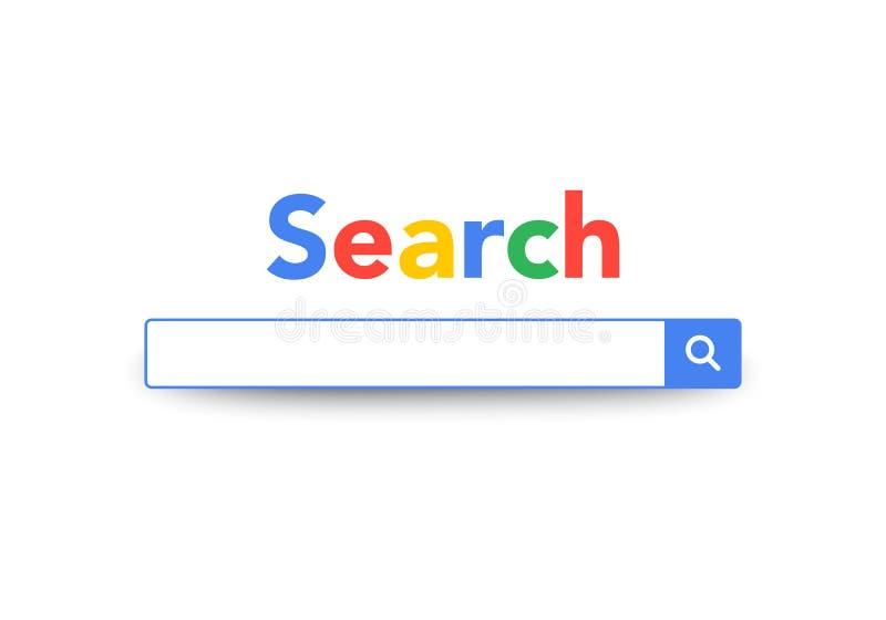 Diseño del servicio de la barra de la búsqueda del elemento del vector, motor de la máquina de la búsqueda, plantilla del navegad stock de ilustración