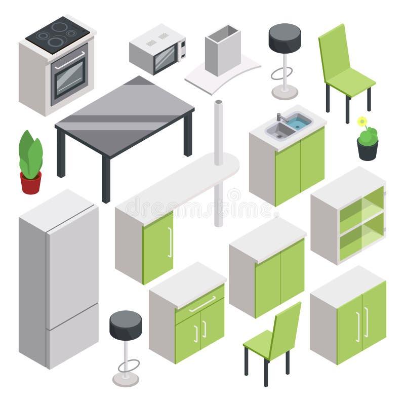 Diseño Del Sitio 3d Muebles Isométricos Del Vector Fijados Para La ...