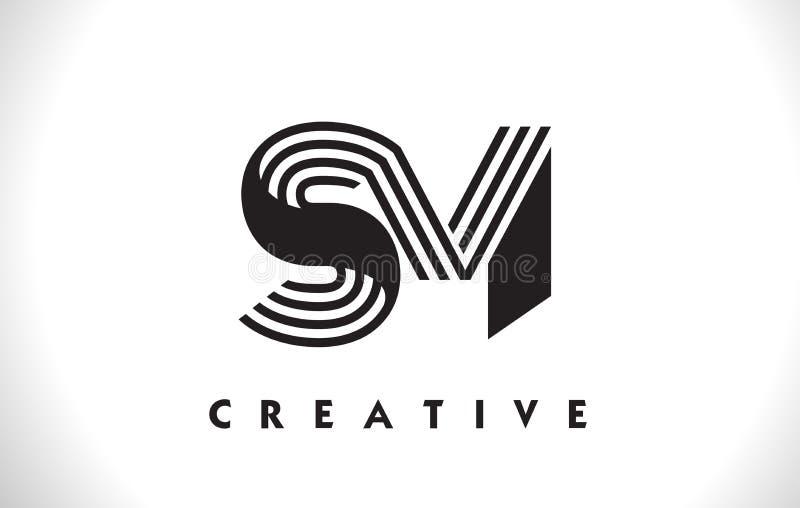 Diseño del SM Logo Letter With Black Lines Línea vector Illus de la letra ilustración del vector